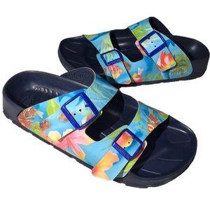 Birki's Size 42 Slides Navy Blue Tropical Print